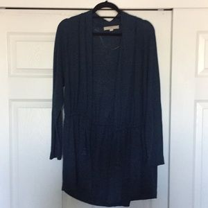 XL Loft Blue Open Front Cardigan with Cinch Waist